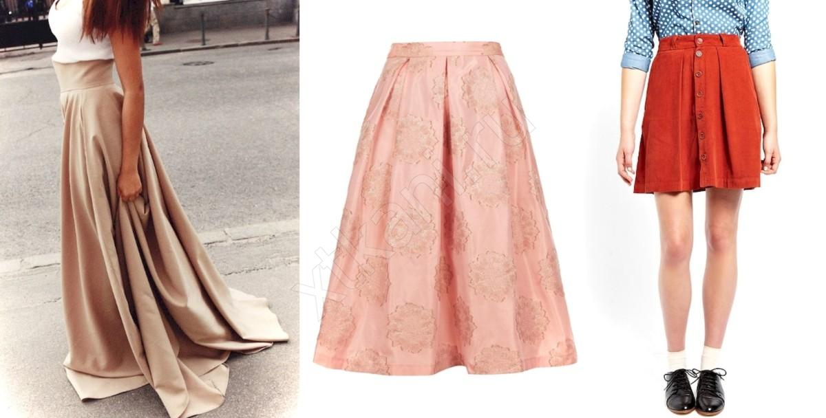 Пышная юбка сатин